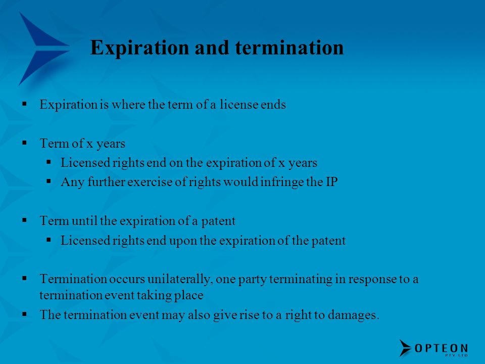 Expiration and termination