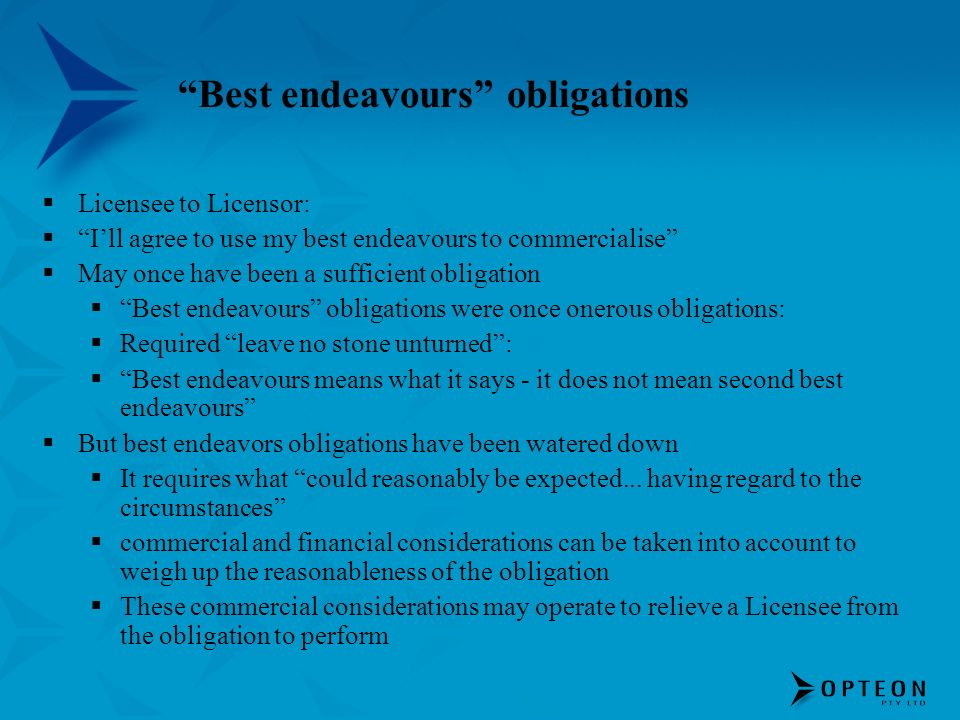 Best endeavours obligations