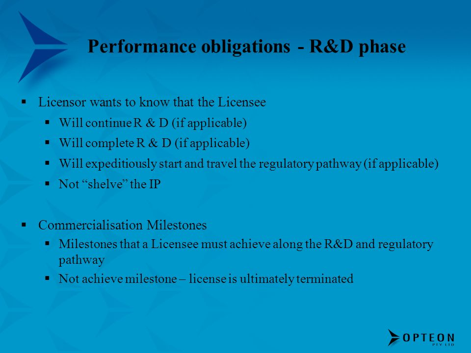Performance obligations - R&D phase