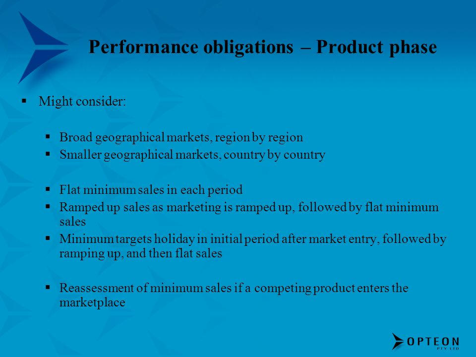 Performance obligations – Product phase