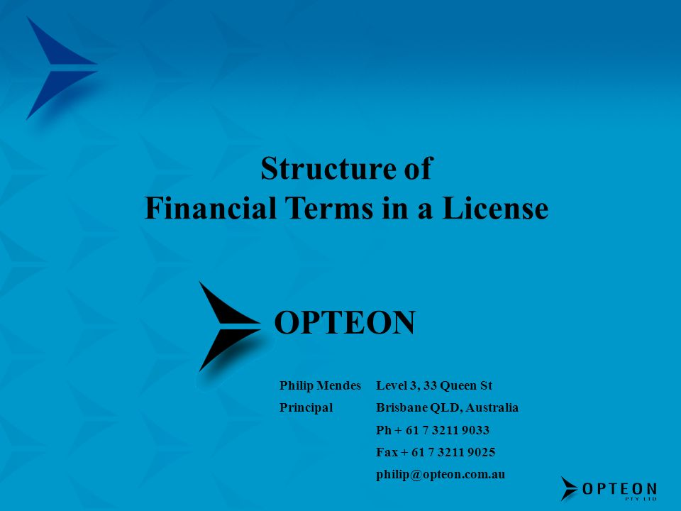 Financial Terms in a License