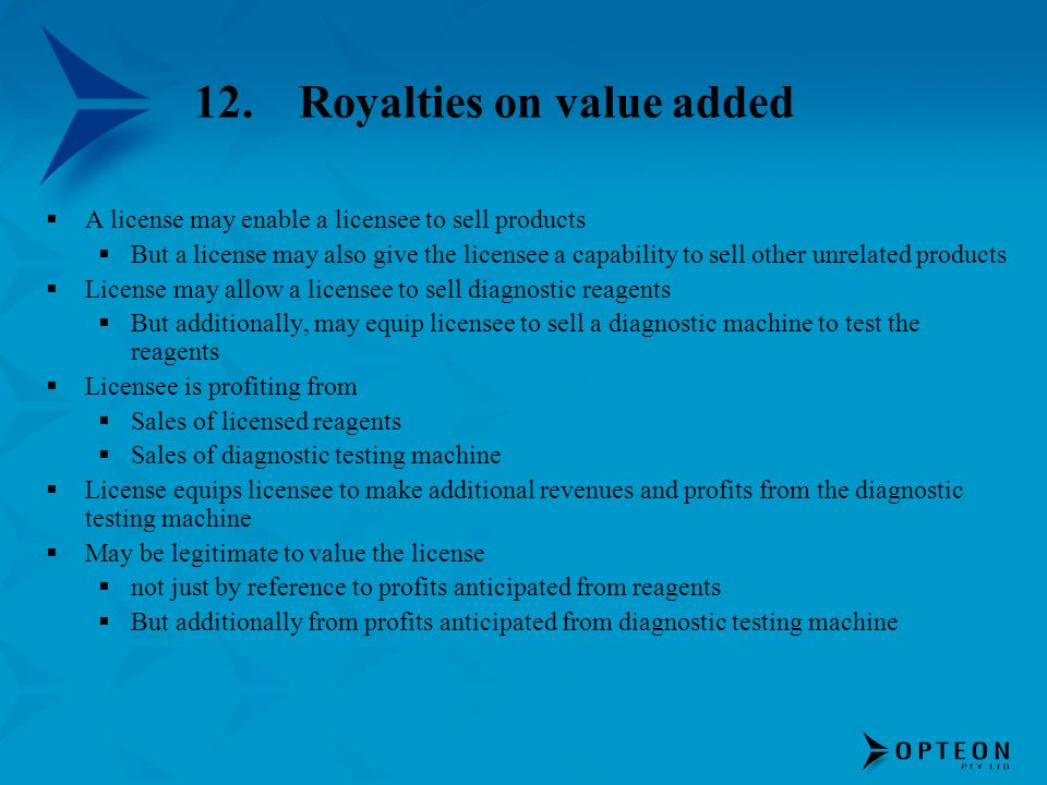12. Royalties on value added