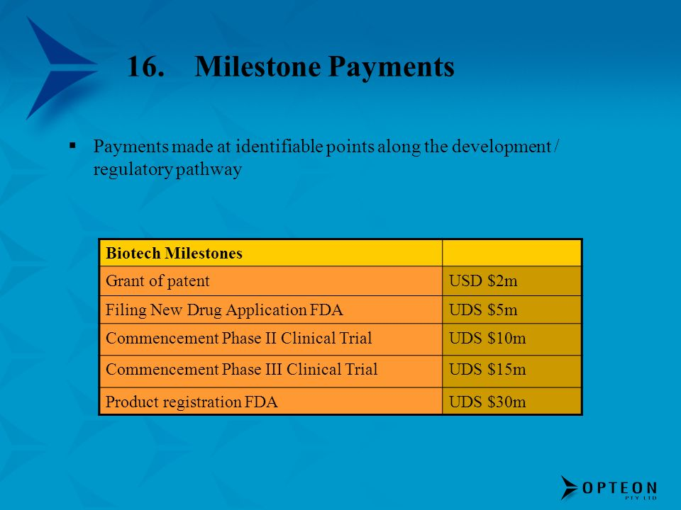 16. Milestone Payments Payments made at identifiable points along the development / regulatory pathway.