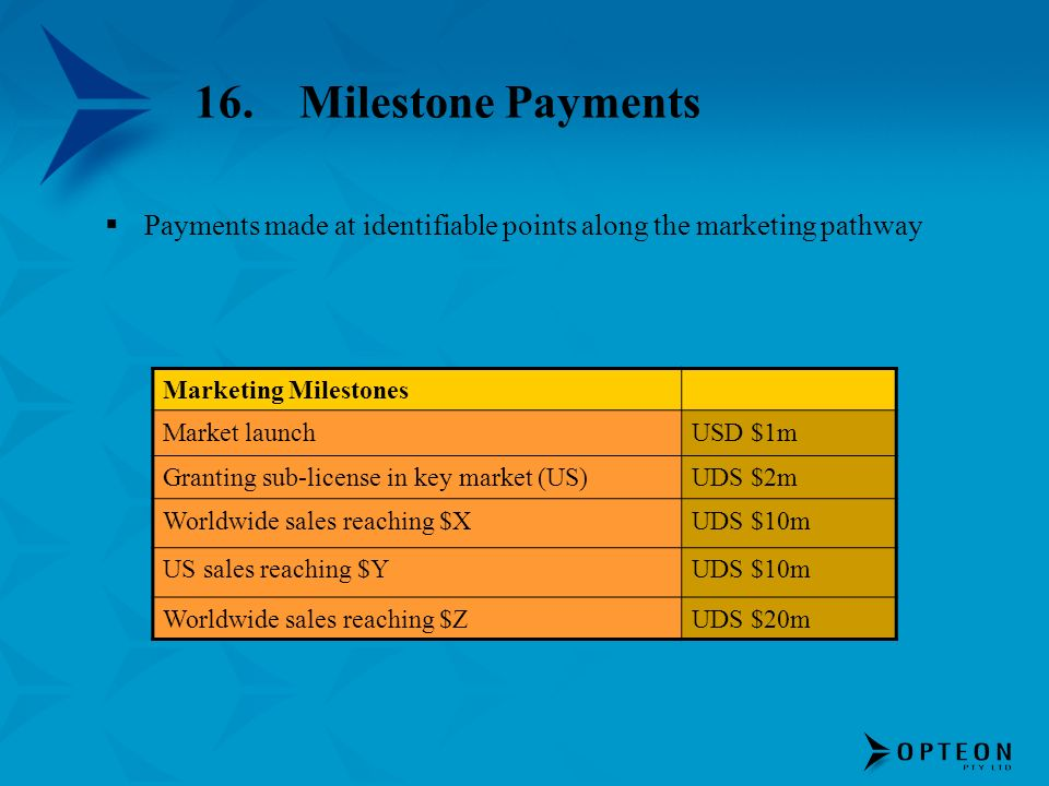 16. Milestone PaymentsPayments made at identifiable points along the marketing pathway. Marketing Milestones.