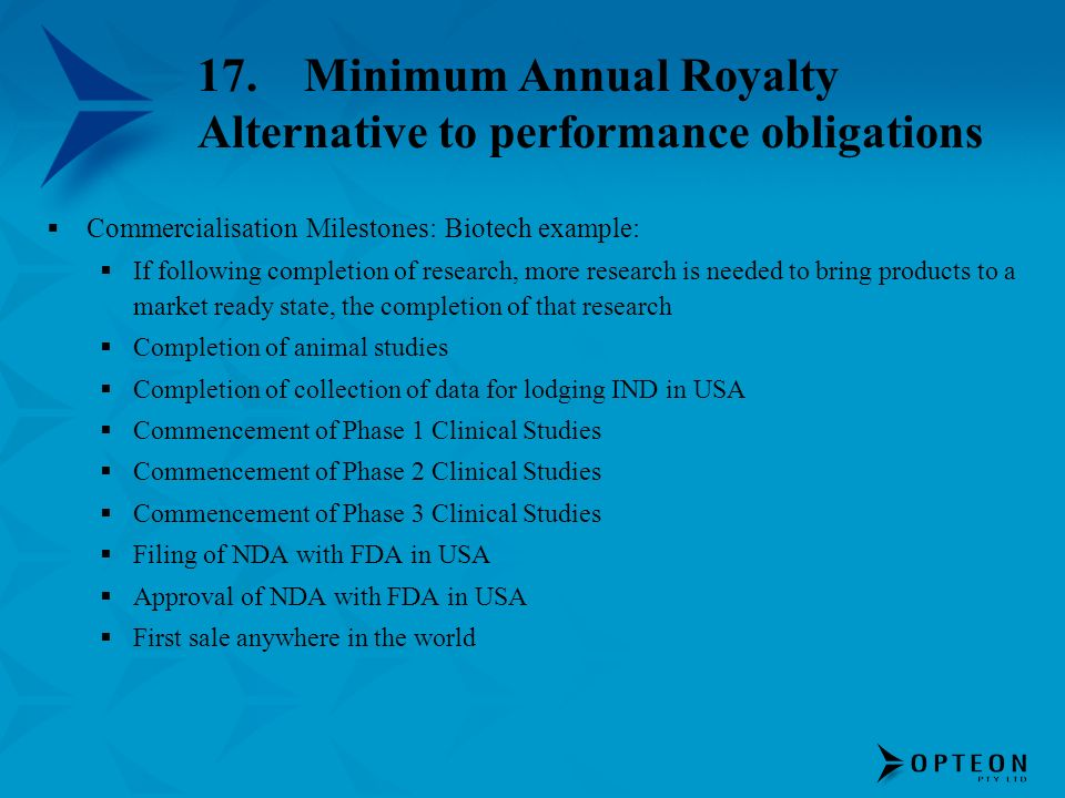 17. Minimum Annual Royalty Alternative to performance obligations