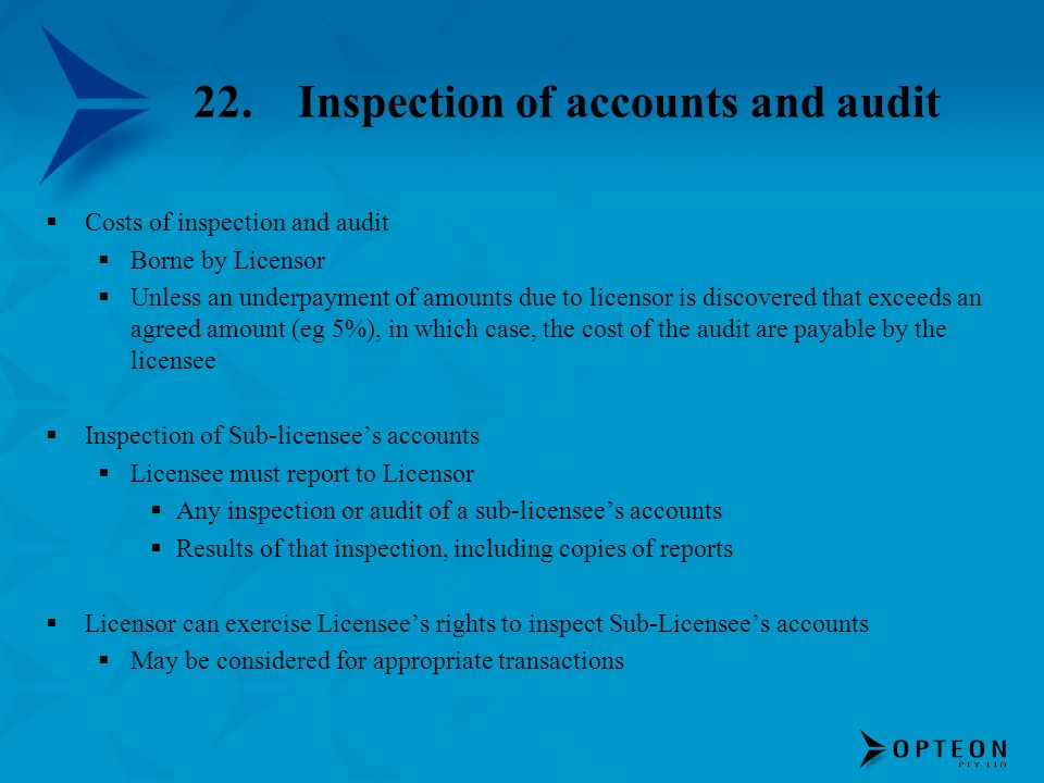 22. Inspection of accounts and audit