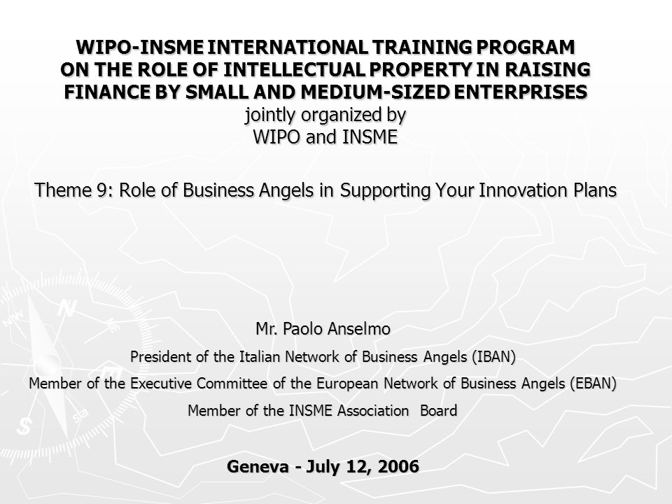WIPO-INSME INTERNATIONAL TRAINING PROGRAM ON THE ROLE OF INTELLECTUAL PROPERTY IN RAISING FINANCE BY SMALL AND MEDIUM-SIZED ENTERPRISES jointly organized by WIPO and INSME Theme 9: Role of Business Angels in Supporting Your Innovation Plans