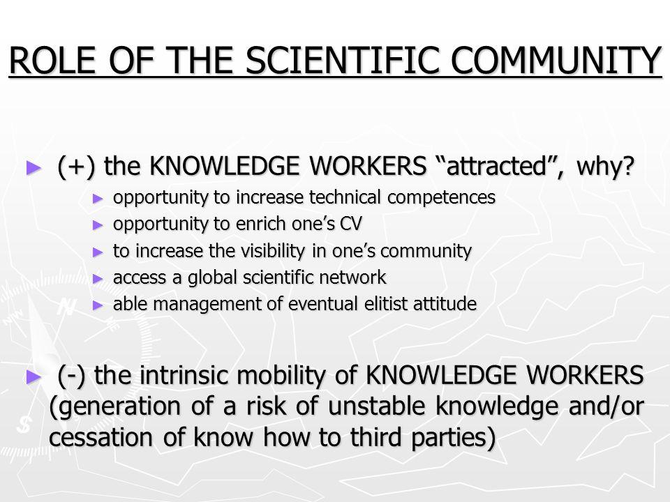 ROLE OF THE SCIENTIFIC COMMUNITY