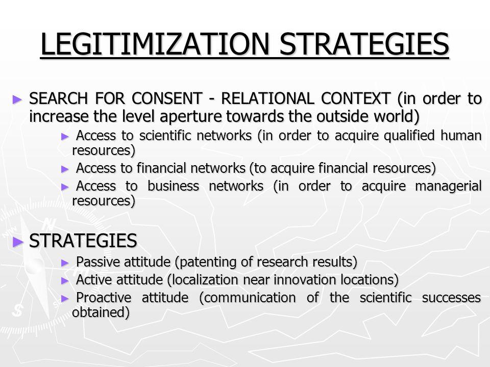 LEGITIMIZATION STRATEGIES