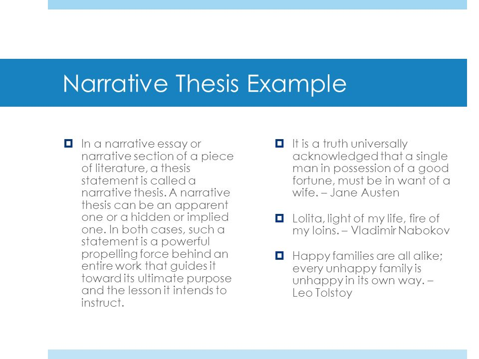 narrative thesis example - Narrative Essay Thesis Examples