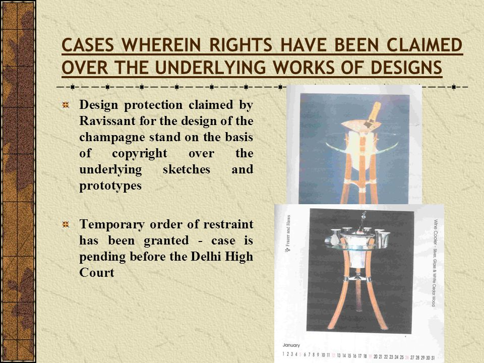 CASES WHEREIN RIGHTS HAVE BEEN CLAIMED OVER THE UNDERLYING WORKS OF DESIGNS