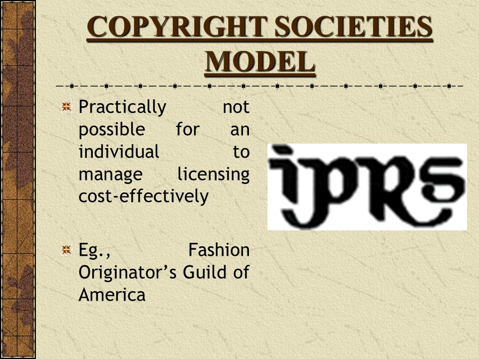 COPYRIGHT SOCIETIES MODEL
