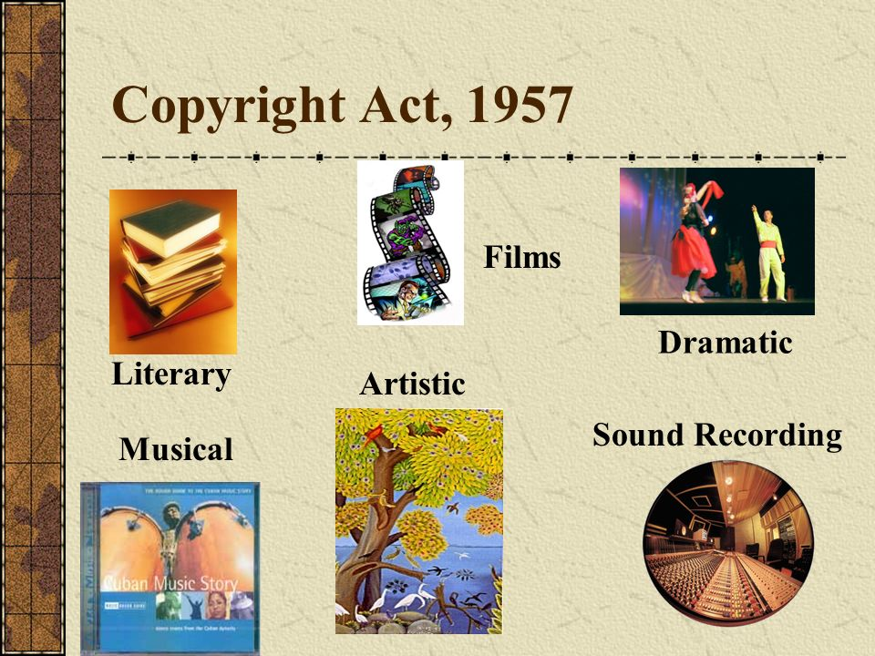 Copyright Act, 1957 Films Dramatic Literary Artistic Sound Recording