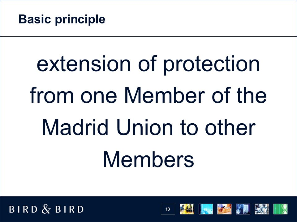 Basic principle extension of protection from one Member of the Madrid Union to other Members