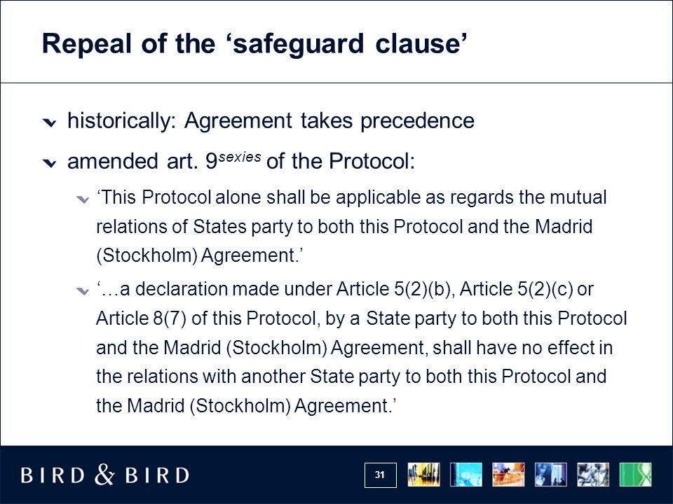 Repeal of the 'safeguard clause'