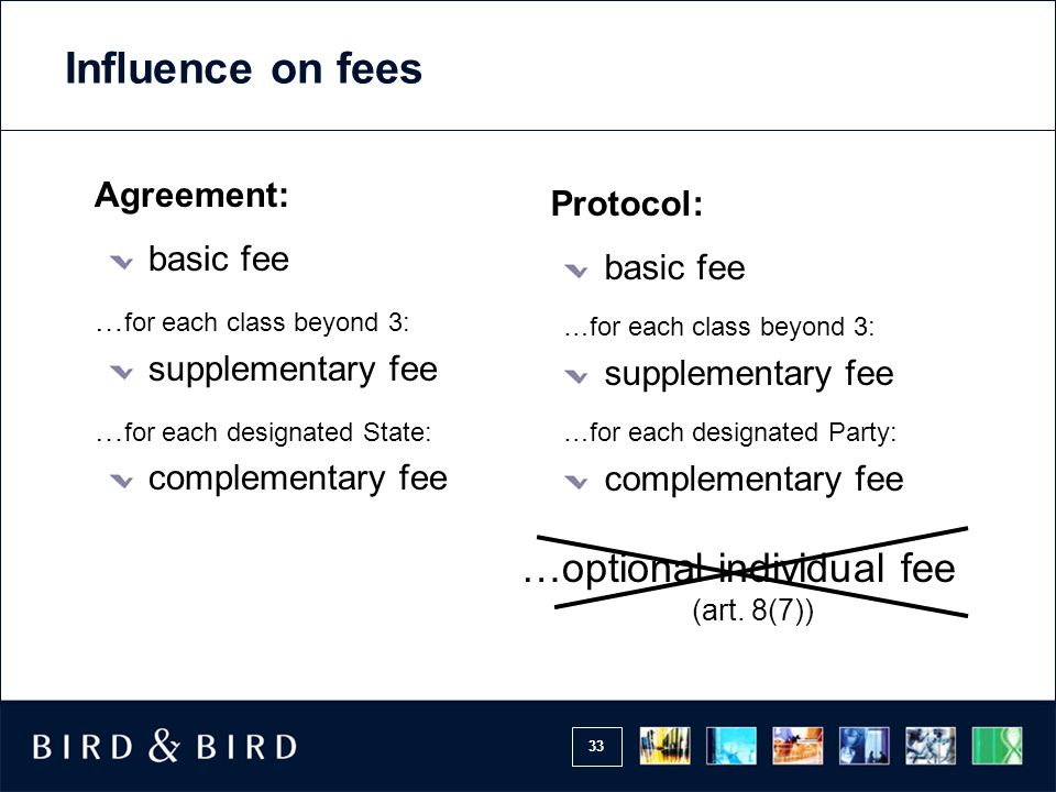 Influence on fees …optional individual fee Agreement: Protocol: