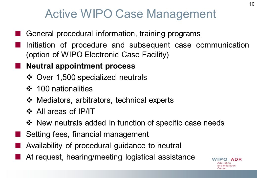 Active WIPO Case Management