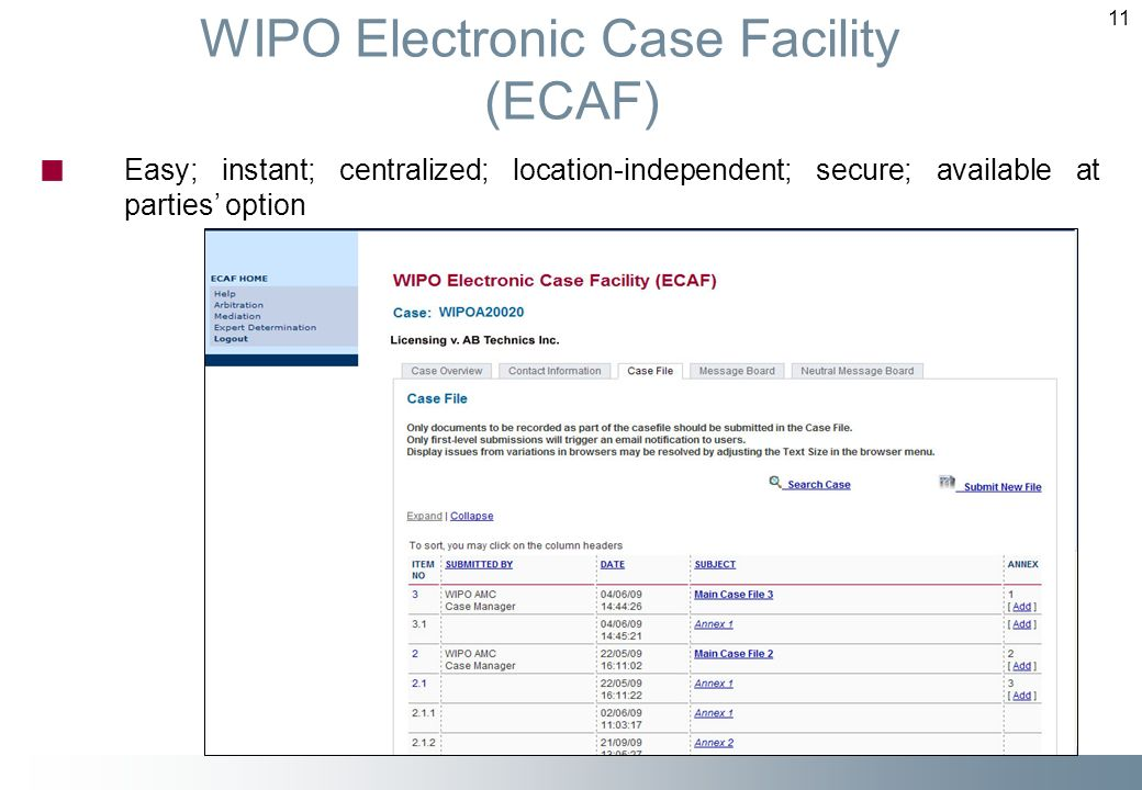WIPO Electronic Case Facility (ECAF)