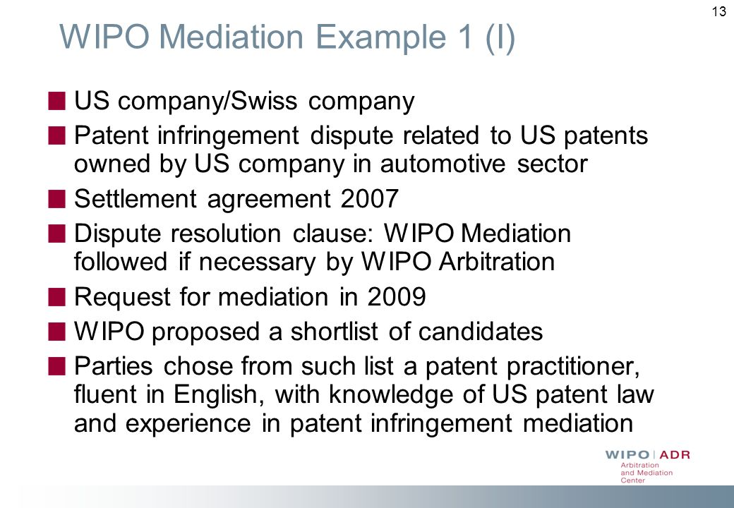WIPO Mediation Example 1 (I)