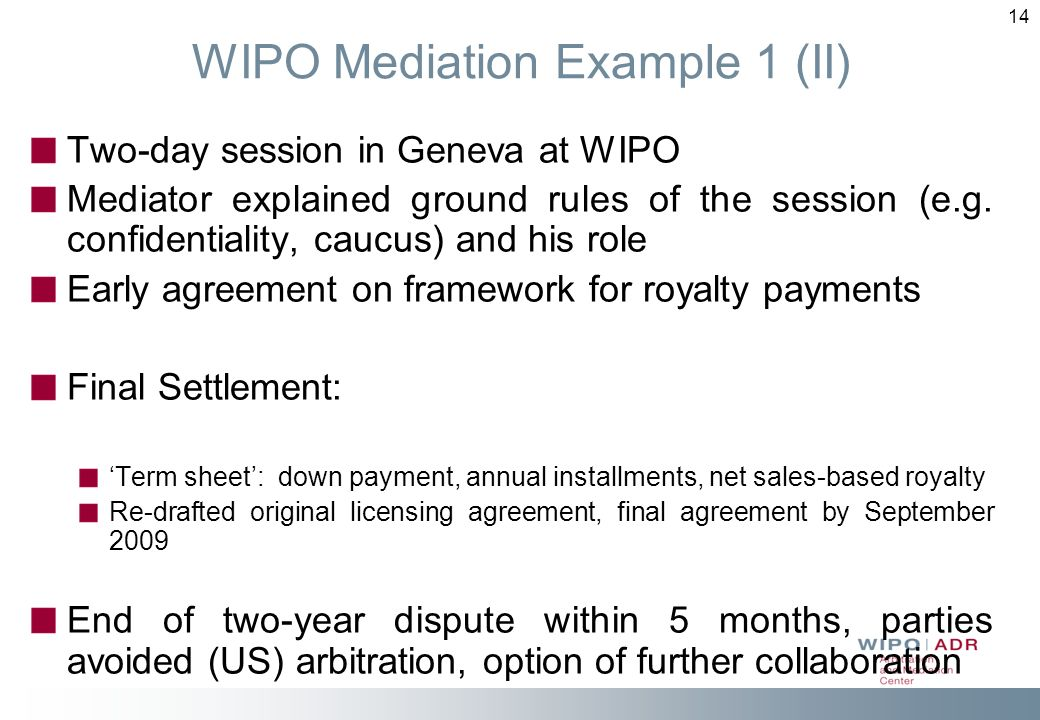 WIPO Mediation Example 1 (II)