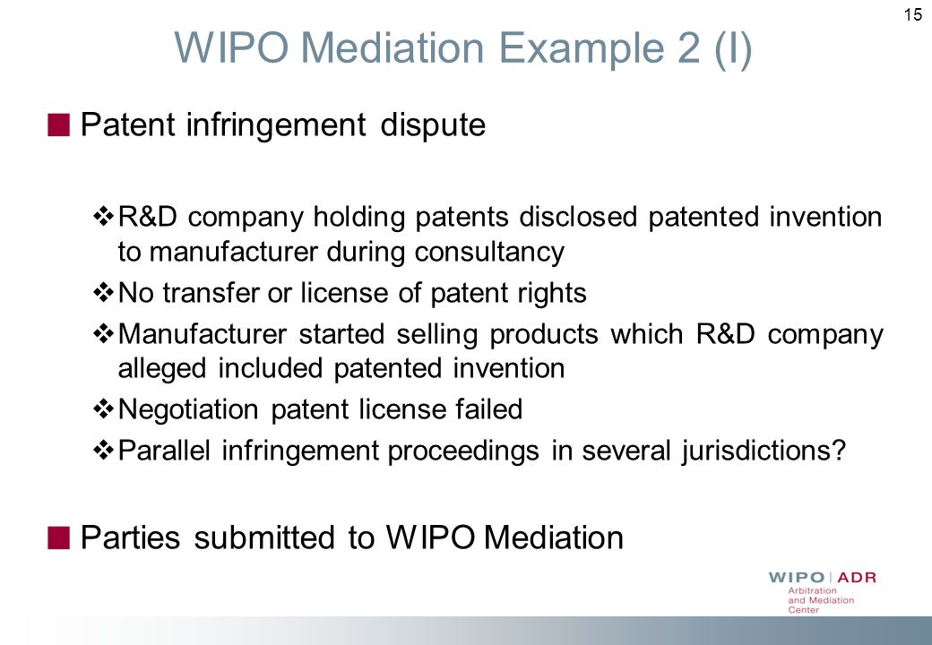 WIPO Mediation Example 2 (I)