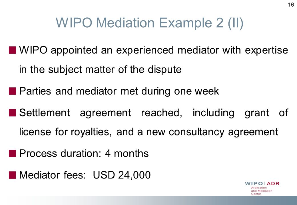 WIPO Mediation Example 2 (II)