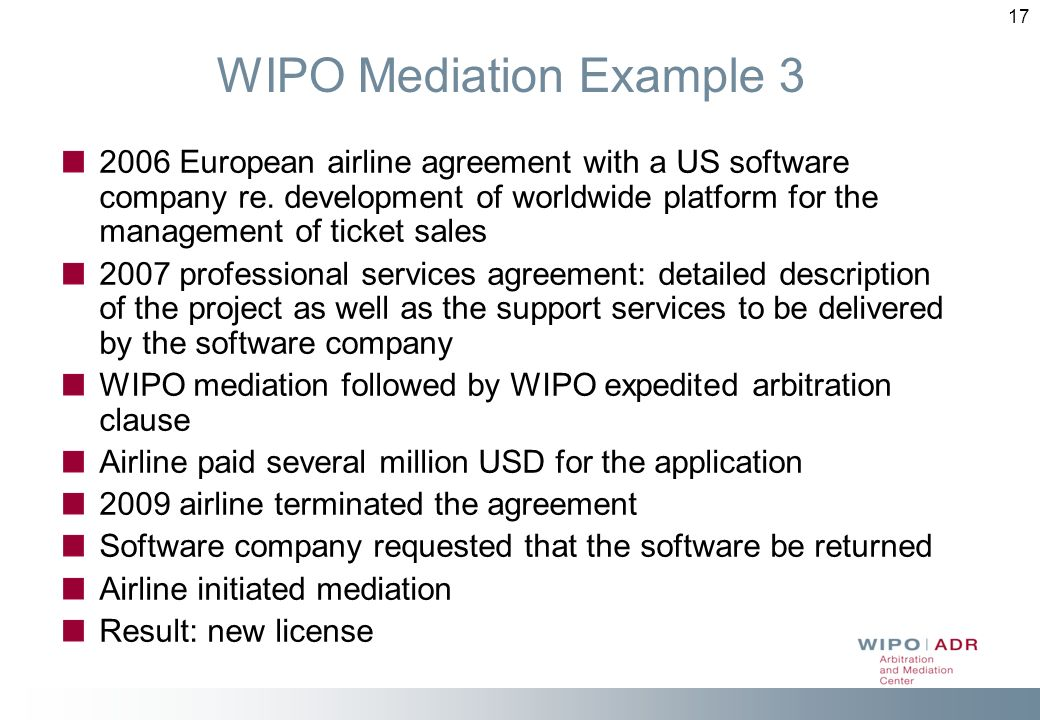 WIPO Mediation Example 3