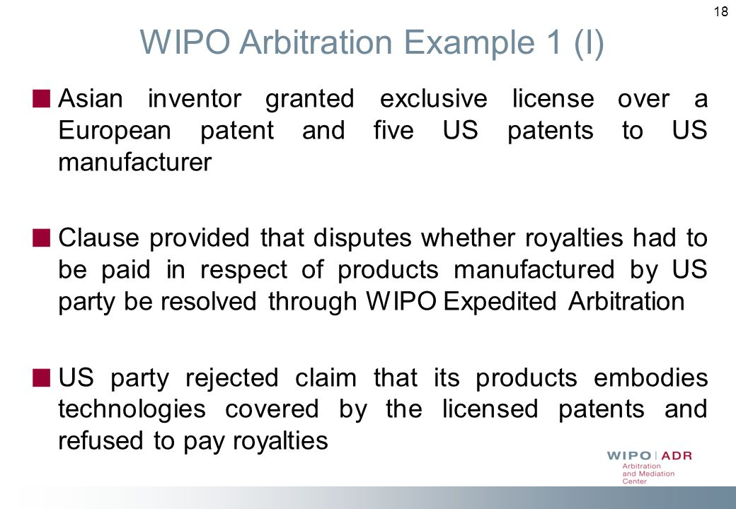 WIPO Arbitration Example 1 (I)
