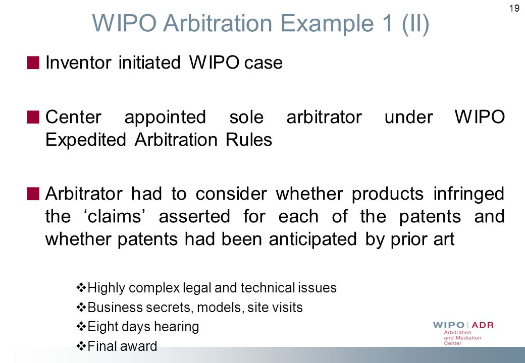 WIPO Arbitration Example 1 (II)