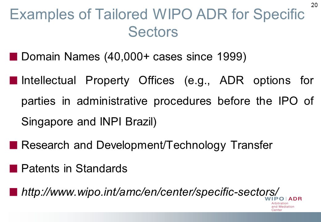 Examples of Tailored WIPO ADR for Specific Sectors