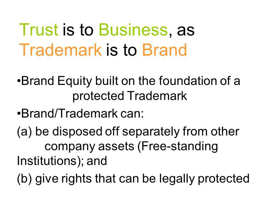 Trust is to Business, as Trademark is to Brand
