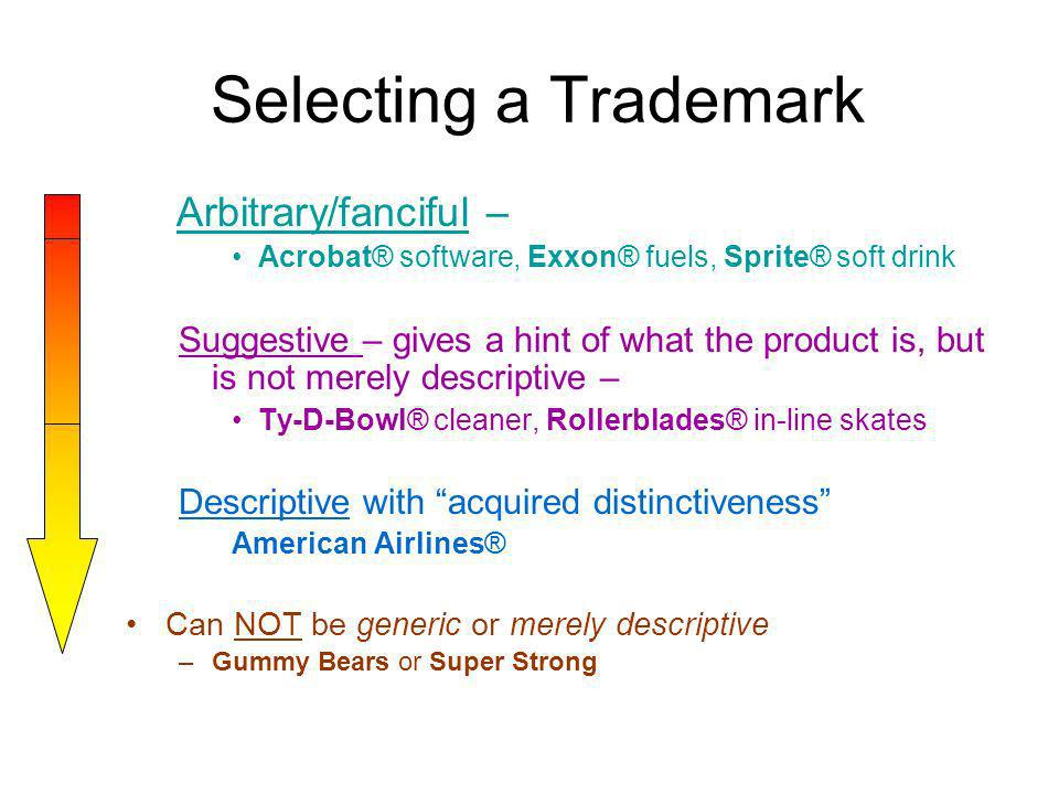 Selecting a Trademark Arbitrary/fanciful –