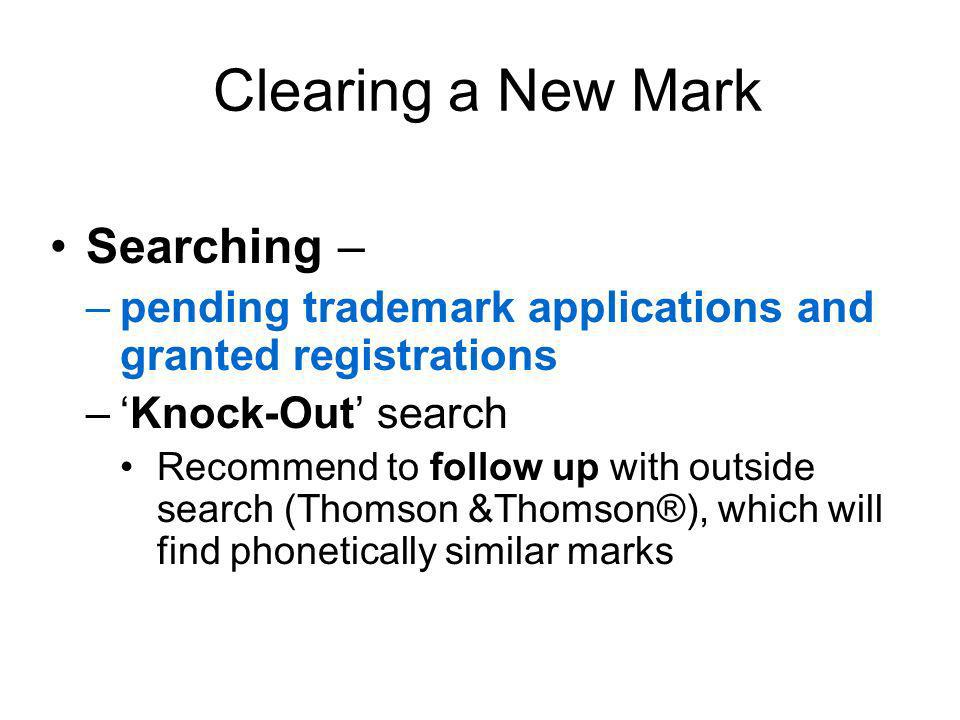 Clearing a New Mark Searching –