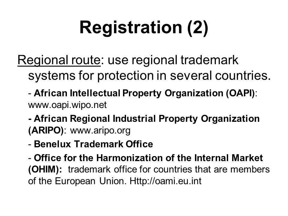 Registration (2) Regional route: use regional trademark systems for protection in several countries.