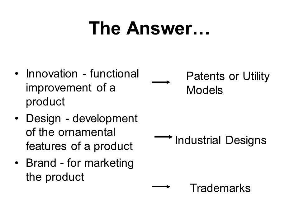 The Answer… Innovation - functional improvement of a product