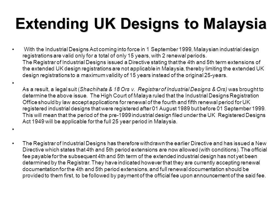 Extending UK Designs to Malaysia