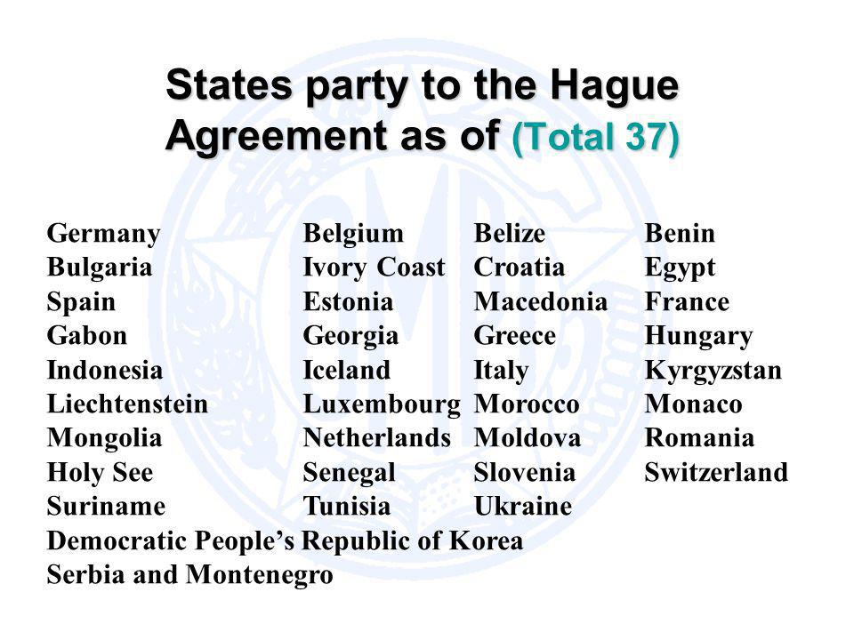 States party to the Hague Agreement as of (Total 37)