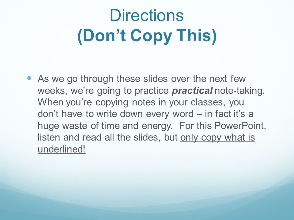Directions (Don't Copy This)