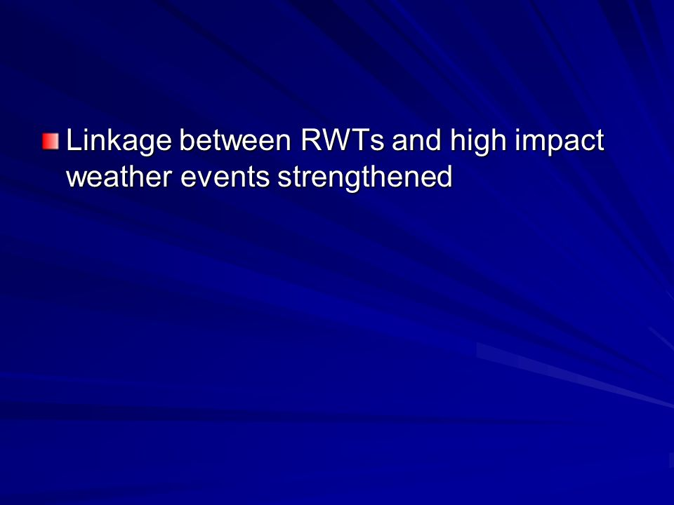 Linkage between RWTs and high impact weather events strengthened