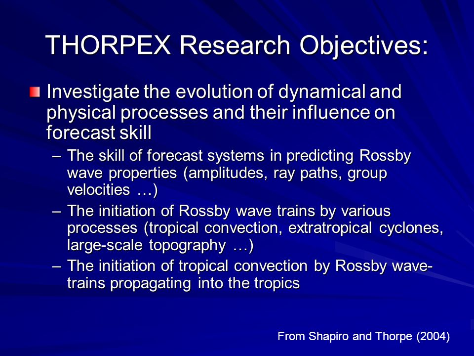 THORPEX Research Objectives: