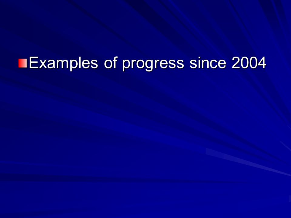 Examples of progress since 2004