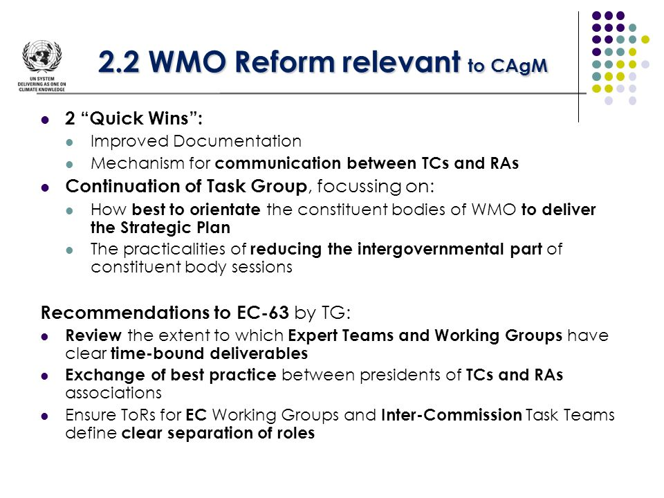 2.2 WMO Reform relevant to CAgM