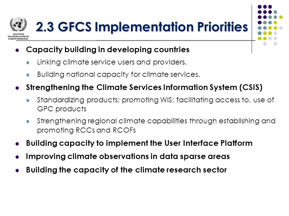 2.3 GFCS Implementation Priorities