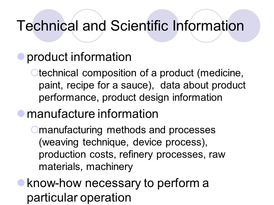 Technical and Scientific Information