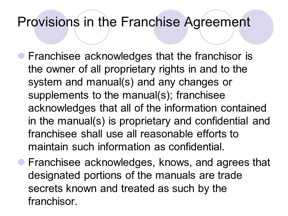 Provisions in the Franchise Agreement