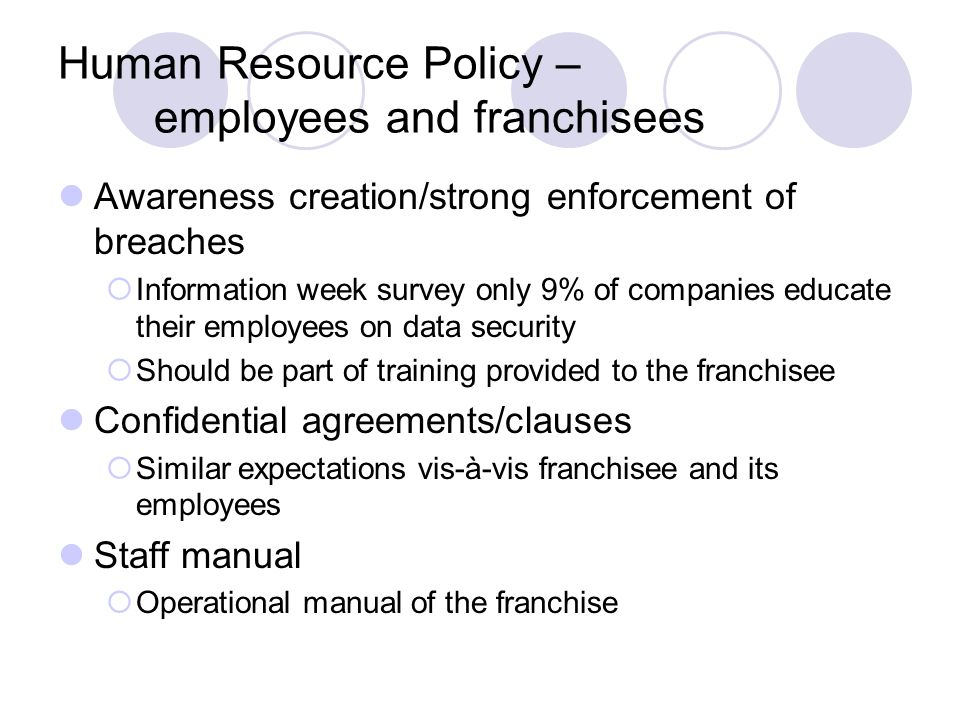Human Resource Policy – employees and franchisees
