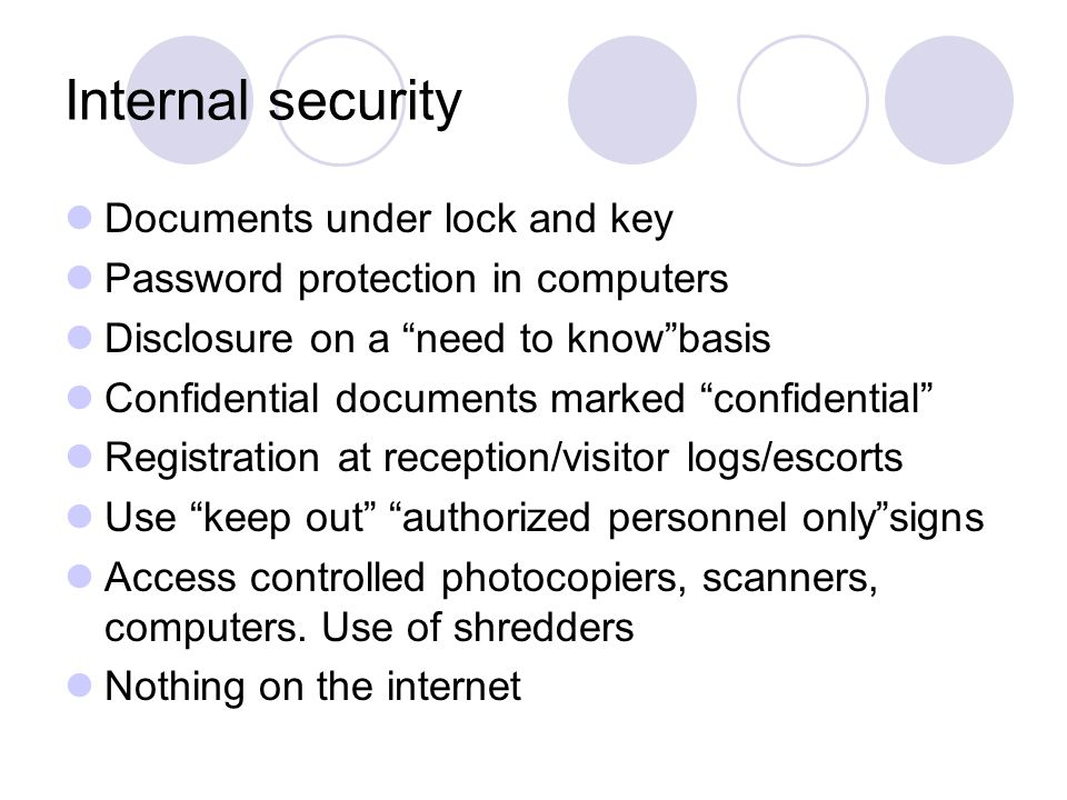 Internal security Documents under lock and key