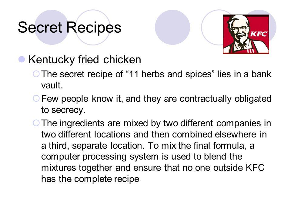 Secret Recipes Kentucky fried chicken