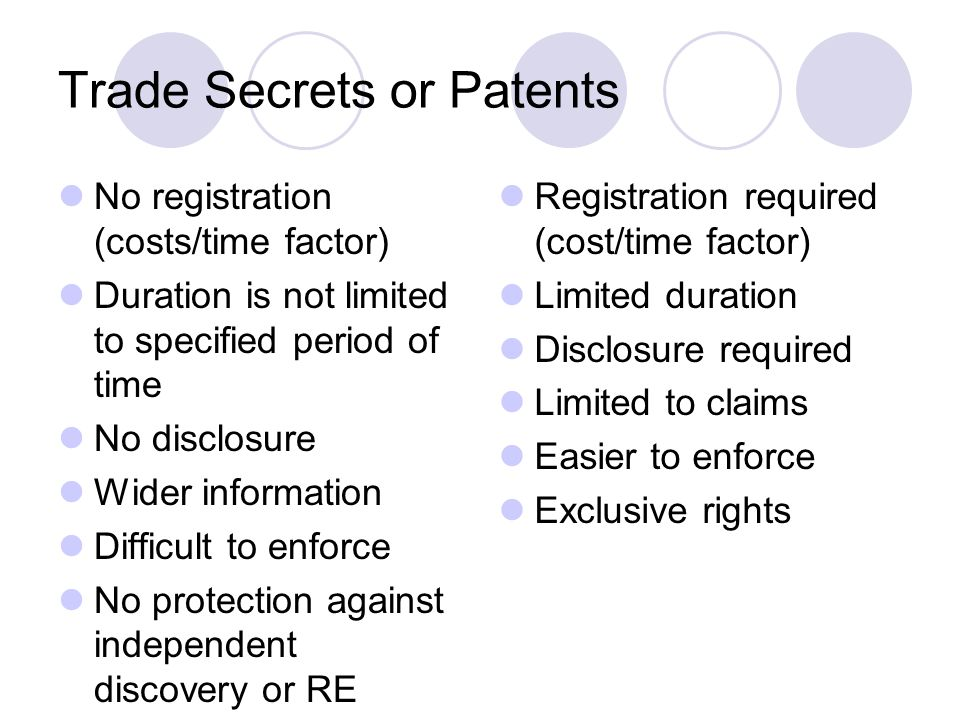 Trade Secrets or Patents
