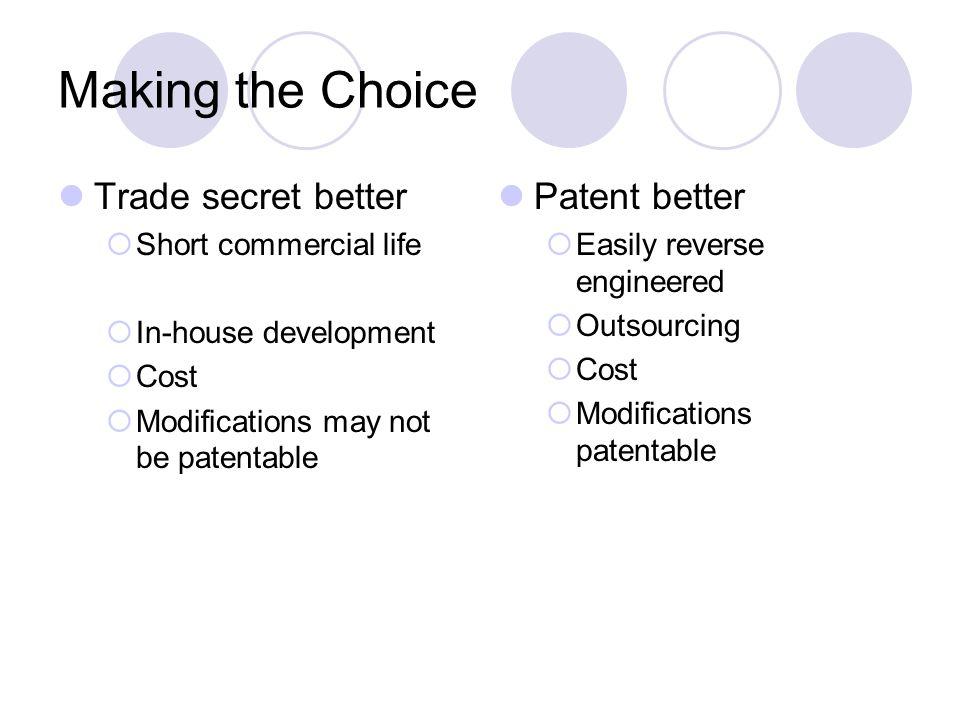 Making the Choice Trade secret better Patent better